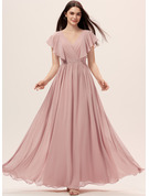 V-Neck Dusty Rose Chiffon Dresses