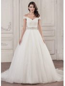 Ball-Gown Off-the-Shoulder Cathedral Train Tulle Wedding Dress With Beading Sequins