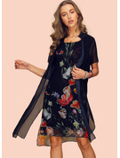 Polyester With Print Knee Length Dress (Two Pieces)
