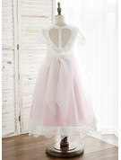 A-Line/Princess Tea-length Flower Girl Dress - Tulle/Lace Short Sleeves Scoop Neck/U Neck With Back Hole