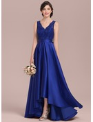 A-Line/Princess V-neck Asymmetrical Satin Lace Bridesmaid Dress With Bow(s)