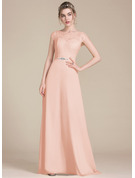 A-Line Scoop Neck Floor-Length Chiffon Lace Bridesmaid Dress With Beading Bow(s)