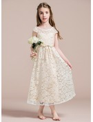 A-Line Scoop Neck Tea-Length Lace Junior Bridesmaid Dress With Beading Bow(s)