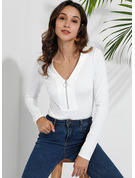 Long Sleeves Cotton V Neck T-shirt Blouses