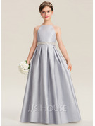 A-Line Floor-length Flower Girl Dress - Taffeta Sleeveless Scoop Neck With Beading/Sequins/Back Hole