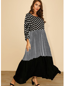 Polyester With Stitching/PolkaDot/Plaid Maxi Dress