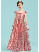 A-Line Sweetheart Floor-Length Sequined Junior Bridesmaid Dress With Ruffle