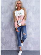 Round Neck Long Sleeves Regular Color Block Print Heart Casual Pullovers