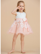 Knee-length Flower Girl Dress - Tulle Lace Sleeveless Scoop Neck With Beading Flower(s) Bow(s)