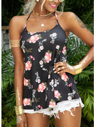Regular Cotton Blends Spaghetti Straps Floral Print 3XL L S M XL XXL Blouses