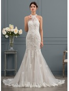 Trumpet/Mermaid Scoop Neck Chapel Train Tulle Wedding Dress