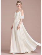 A-Line V-neck Floor-Length Chiffon Wedding Dress With Cascading Ruffles