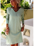Solid Shift V-Neck 3/4 Sleeves Midi Casual Tunic Dresses