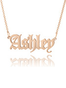 Custom 18k Rose Gold Plated Old English Name Necklace