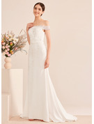 Trumpet/Mermaid Off-the-Shoulder Court Train Wedding Dress With Lace Sequins