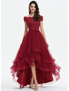 Off-the-Shoulder Asymmetrical Tulle Evening Dress With Beading Sequins Bow(s)