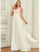 V-neck Sweep Train Chiffon Lace Wedding Dress With Lace