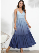 Polyester With Print/Ruffles Maxi Dress