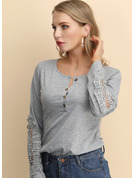 Long Sleeves Lace Cotton Round Neck Knit Blouses
