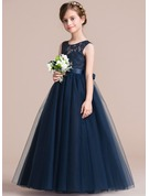 A-Line/Princess Scoop Neck Floor-Length Tulle Junior Bridesmaid Dress With Sash