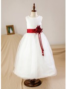 Ball Gown Ankle-length Flower Girl Dress - Organza/Satin Sleeveless Scoop Neck With Sash/Flower(s) (Petticoat NOT included)