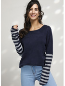Striped Cable-knit Chunky knit Polyester Round Neck Pullovers Sweaters
