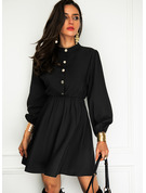 Solid A-line High Neck Long Sleeves Midi Elegant Little Black Skater Dresses
