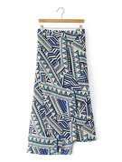 A-Line Skirts Maxi Geometric Print Polyester Skirts