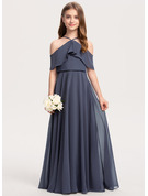 A-Line Off-the-Shoulder Floor-Length Chiffon Junior Bridesmaid Dress With Cascading Ruffles
