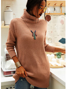 Ribbed Chunky knit Solid Polyester Turtleneck Pullovers Sweater Dresses Sweaters
