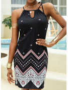 Print Sheath Spaghetti Straps Sleeveless Midi Casual Vacation Type Dresses