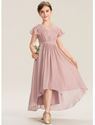 V-neck Asymmetrical Chiffon Junior Bridesmaid Dress