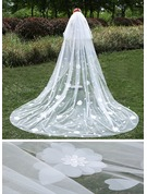 Two-tier Cut Edge Cathedral Bridal Veils With Satin Flower/Lace