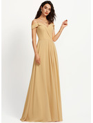A-Line Off-the-Shoulder Floor-Length Prom Dresses