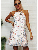 Floral Print Backless Shift Halter Sleeveless Midi Casual Vacation Dresses