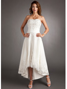 Sweetheart Asymmetrical Tulle Wedding Dress With Lace Beading