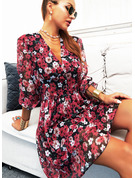 Floral Print A-line V-Neck 1/2 Sleeves Midi Casual Skater Dresses