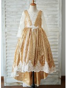 Ball-Gown/Princess Sweep Train Flower Girl Dress - Tulle/Lace Long Sleeves Scoop Neck With Flower(s)