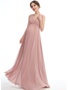A-line V-Neck Floor-length Chiffon Maternity Bridesmaid Dress