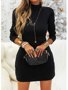 Solid Bodycon High Neck Long Sleeves Midi Casual Little Black Dresses