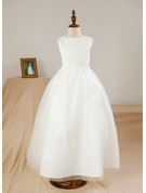 Ball Gown Ankle-length Flower Girl Dress - Satin Tulle Sleeveless Scoop Neck With Beading Appliques