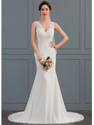 Trumpet/Mermaid V-neck Court Train Chiffon Wedding Dress