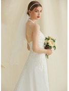 A-Line Halter Court Train Chiffon Lace Wedding Dress With Beading Sequins