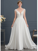 A-Line V-neck Sweep Train Chiffon Wedding Dress With Beading Sequins
