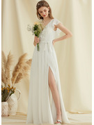 V-neck Floor-Length Chiffon Wedding Dress With Split Front Cascading Ruffles