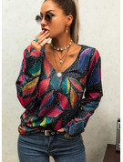 V-Neck Long Sleeves Print Casual Knit Tops Pullovers