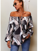 Regular Cotton Blends Round Neck Print Fitted Blouses