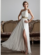 One-Shoulder Floor-Length Chiffon Prom Dresses With Ruffle Beading Sequins Split Front