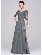 Scoop Neck Floor-Length Chiffon Mother of the Bride Dress With Ruffle Beading Appliques Lace Sequins