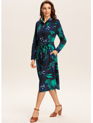 Polyester With Button/Print Midi Dress